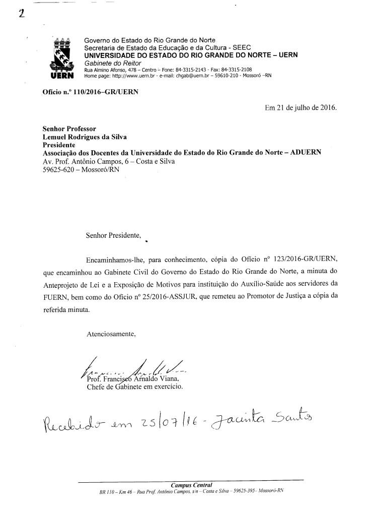 Documento endereçado à ADUERN